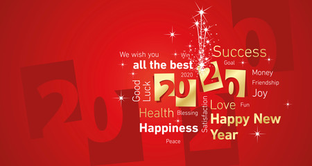 Happy New Year 2020 firework negative space word cloud text gold white red vector