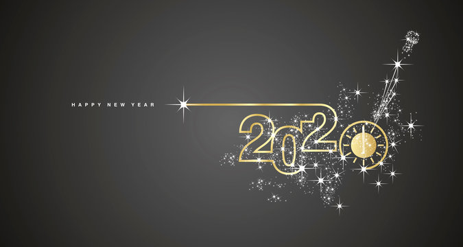 New Year 2020 line design gold clock countdown with sparkle firework white black greeting card