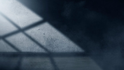 concept, lantern, blue, studio, shadow, space, empty, white, textured, nobody, sunny, reflection, surface, old, night, weathered, light, background, shadows, rays, fog, frame, concrete, rough, color,  Wall mural