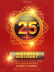 25 years anniversary golden vector mandala or ornament on red background. Template design, banner with bright 25th anniversary greeting card. For a luxury wedding, beauty fashion concept.