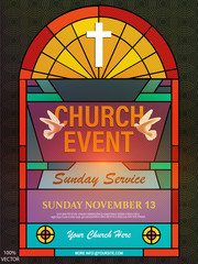 Christian invitation poster template. Religious flyer card for Church service event. Church flyer vector concept. Banner with cross and stained glass on pattern black background. EPS 10 vector.