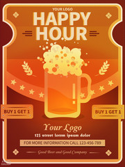 Happy Hour offer flyer template with abstract beer mug, wheat on colorful geometric palette. Vintage discount invitation card template & advertising for web, poster, flyer, party. Eps 10.