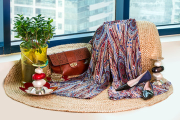 Collection of Women's Clothes Set ready to wear to go to work or travel consisting of clothes, Bag, shoes and jewelry accessories oriental style