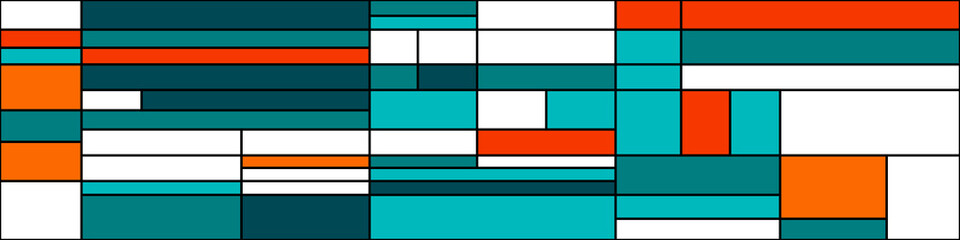 Piet Mondrian style Abstract Computational Generative Art background illustration