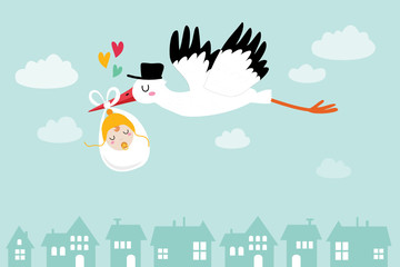 Baby announcement card. baby shower. stork with baby, vector illustration
