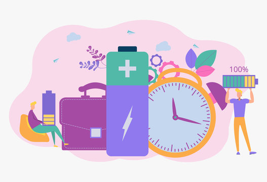 Battery life and durability with a charge and time indicator. Battery life, long battery life concept. Colorful vector illustration