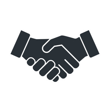 flat vector image on white background, handshake icon, business agreement and arrangement