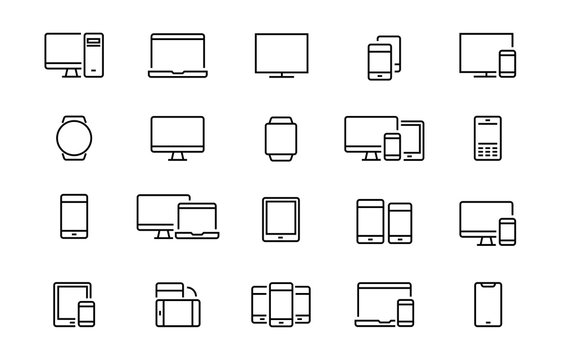Set of devices web icons Editable vector stroke