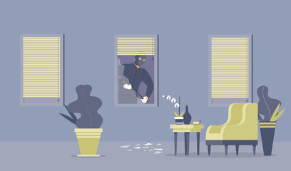 Crime commitment, housebreak flat vector illustration. Dangerous thief with crowbar, robber in ski mask cartoon character. Disguised criminal breaking through window, apartment burglary, robbery