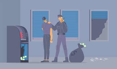 Failed burglary attempt flat vector illustration. Policeman in uniform and bank robber in mask cartoon characters. Security guard caught thief stealing money from ATM machine, criminal apprehension