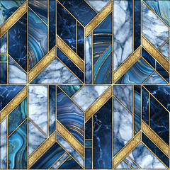Ingelijste posters Geometrisch seamless abstract background, modern marble blue gold mosaic, art deco wallpaper, artificial stone texture, marbled tile, geometrical fashion marbling illustration