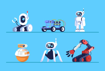 Robots flat vector illustrations set. Droids on wheels, with legs. Smart systems. Machine robotic technology. Plaything gadgets on shelf. Artificial intelligence mechanisms. Cartoon electronic toys