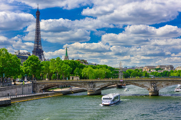 Fototapete - View of Eiffel tower and Seine river in Paris, France