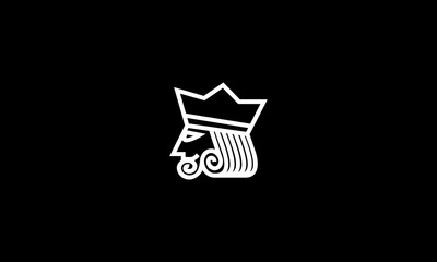 king poker line art logo design inspiration - Vector