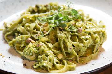 Tagliatelle pasta with pistachio and sauce pesto
