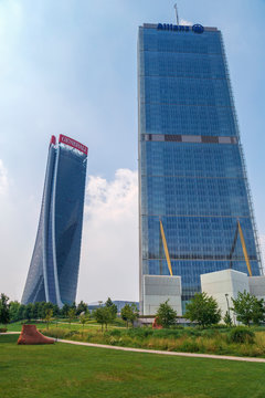 Isozaki Tower and Hadid Tower in City Life complex, Milan, Italy