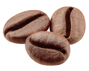 coffee beans isolated on white background, clipping path, full depth of field