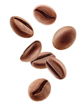 Falling coffee beans isolated on white background, clipping path, full depth of field