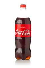 GERMANY - SEPTEMBER 25, 2019 : Coca cola soda beverage PET plastic bottle with logo over white background