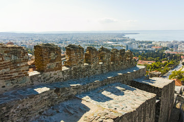 Ancient Fortification and panorama of Thessaloniki,  Greece