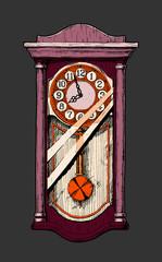 Wall Mural - Illustration of old pendulum clock