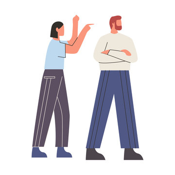 Unhappy couple arguing. Man crossed hands over chest and mad woman pointing finger at him. Concept of addicted partner, bad relationships, two angry people. Flat vector illustration