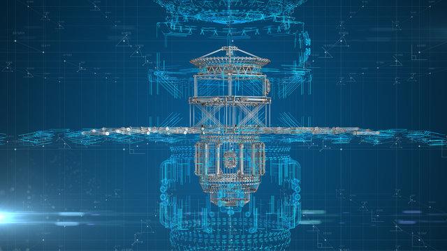 Satellite and space flight aeronautical engineering design for aerospace technology - 3D illustration rendering