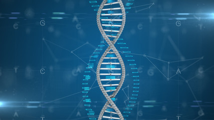 DNA Gene therapy and genetic engineering of human genes for medical research - 3D illustration rendering