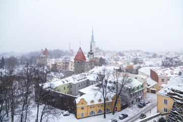 Wall Mural - View from the observation deck of the old snowy Tallinn