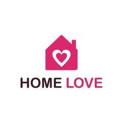 Home love heart logo vector, simple and minimalist
