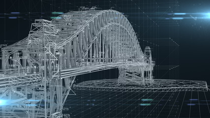 Civil engineer structural architect analysis bridge design engineering  - 3D Illustration Rendering Fotomurales
