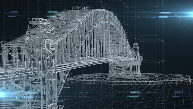 Civil engineer structural architect analysis bridge design engineering  - 3D Illustration Rendering