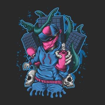 Man Spray monster kraken attack illustration