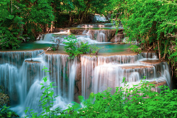 Huai Mae Kamin waterfall Srinakarin at Kanchanaburi, in Thailand.Onsen atmosphere.