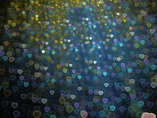 Abstract Illustration - Glowing Blue and Yellow Heart shapes, soft shapes blurred background. Romance background image, vibrant transparent glowing shapes. Colored hearts, digital artwork