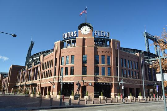 DENVER, COLORADO, USA - October 19, 2019: Coors Field is the home of the Colorado Rockies Major League Baseball team.