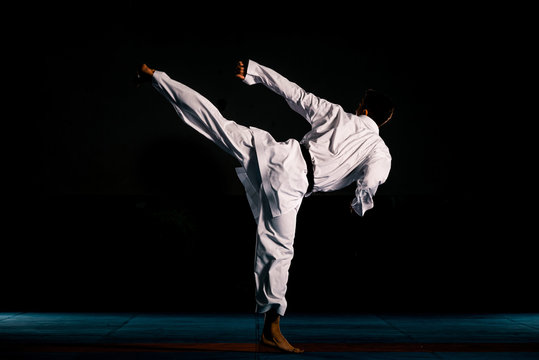 Portrait of a martial arts master on the black background