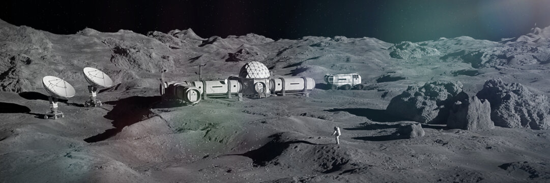 astronaut on Moon surface, lunar landscape with permanent base