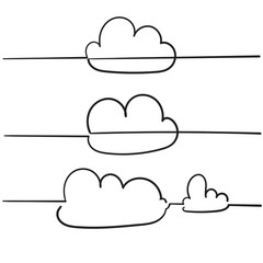 doodle cloud illustration vector with handdrawn style