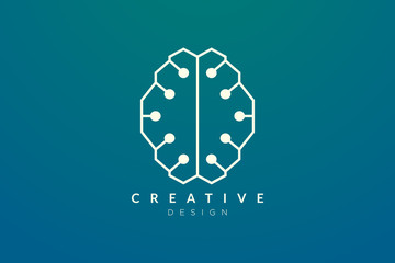 Design abstract brain shape logo with technology style. Simple and modern vector design for business brand in the field of digital technology, network, internet, media, data, electronic, software.