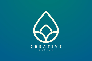 Minimalist abstract shaped water drop logo design. Simple and modern vector design for business brand and product.
