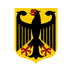 German coat of arms with an eagle on a shield. Flat vector emblem.