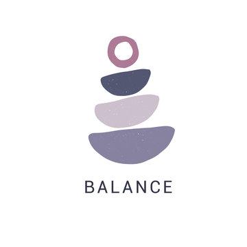 Zen stones flat vector illustration. Stylish print, t shirt design element. Balance and harmony concept