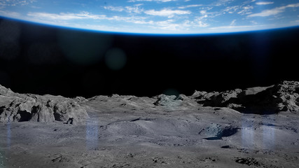 Foto op Canvas Zwart surface of the Moon, lunar landscape