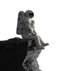 Fototapeta astronaut on the Moon sitting on a cliff, isolated on white background