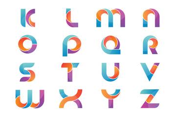 Obraz Set of alphabet logo icons design template elements, vector sign symbol - fototapety do salonu