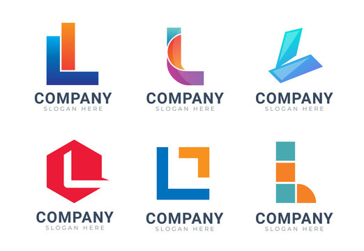 Set of letter L logo icons design template elements. Collection of vector sign symbol