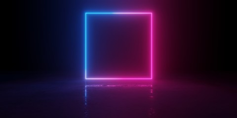 Abstract blue and red glowing neon light square in empty concrete room with shiny reflective floor Fotomurales