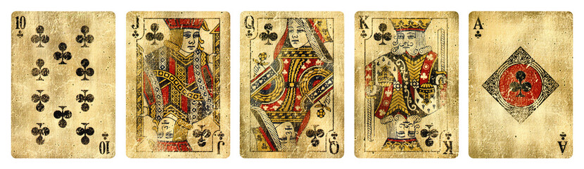 Clubs Suit Vintage Playing Cards, Set include Ace, King, Queen, Jack and Ten - isolated on white. Fototapete