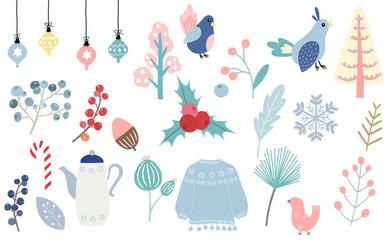 Winter set with bird,ball,conifer,snowflake illustration for sticker,postcard,background,christmas invitation